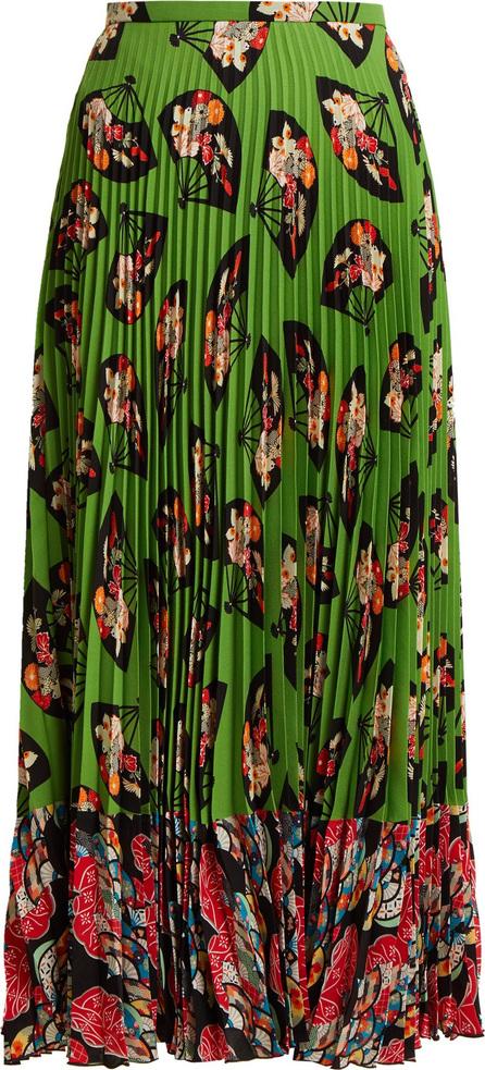 Andrew Gn Fan-print pleated silk skirt