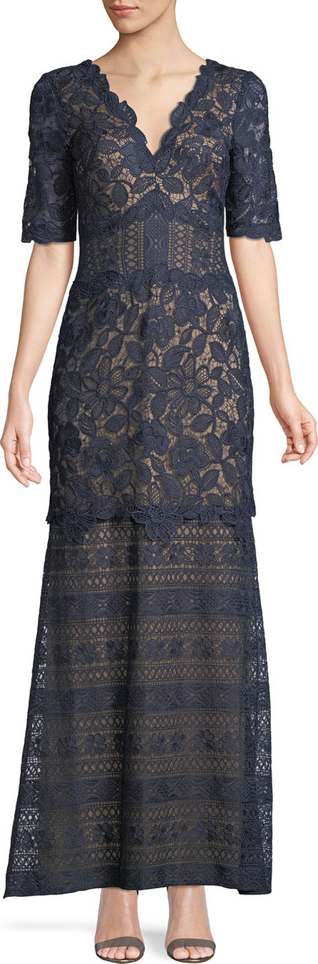 Tadashi Shoji Scalloped Floral Lace V-Neck Dress