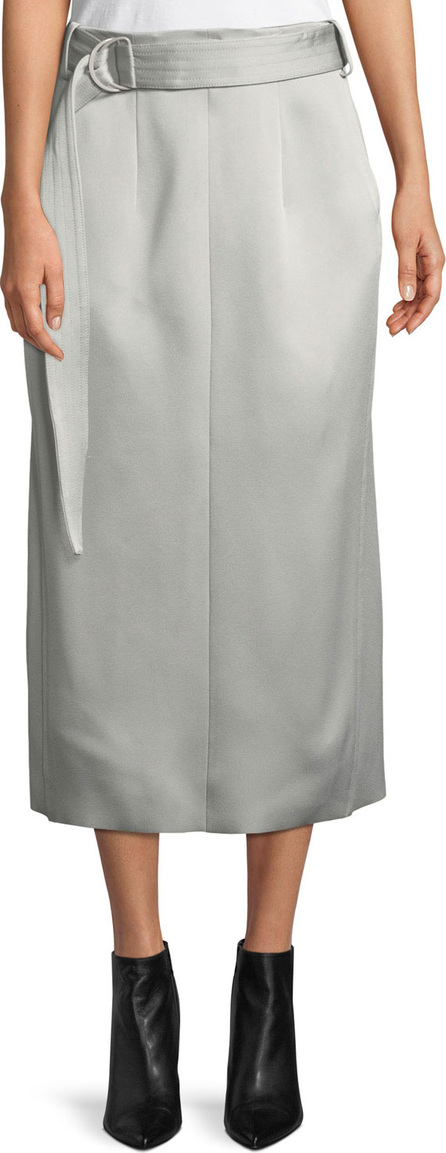 Joseph Byron Slim Crepe Satin Midi Skirt with Belt