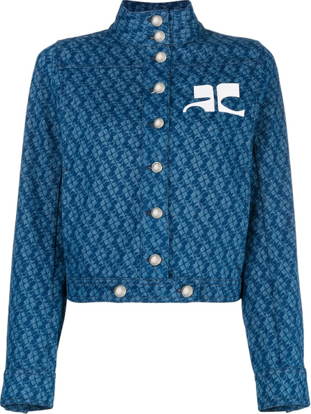 CourrèGes Print cropped denim jacket