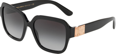 Dolce & Gabbana Square Gradient Acetate Sunglasses w/ Logo Plaque