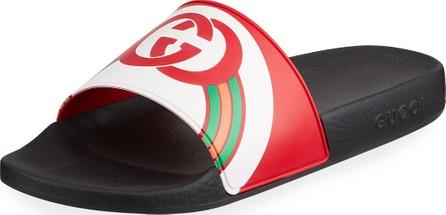 Gucci Men's Interlocking G Rainbow Rubber Slide Sandals