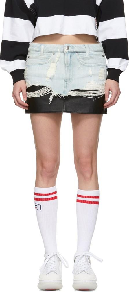 Alexander Wang Blue Denim & Leather Hybrid Miniskirt