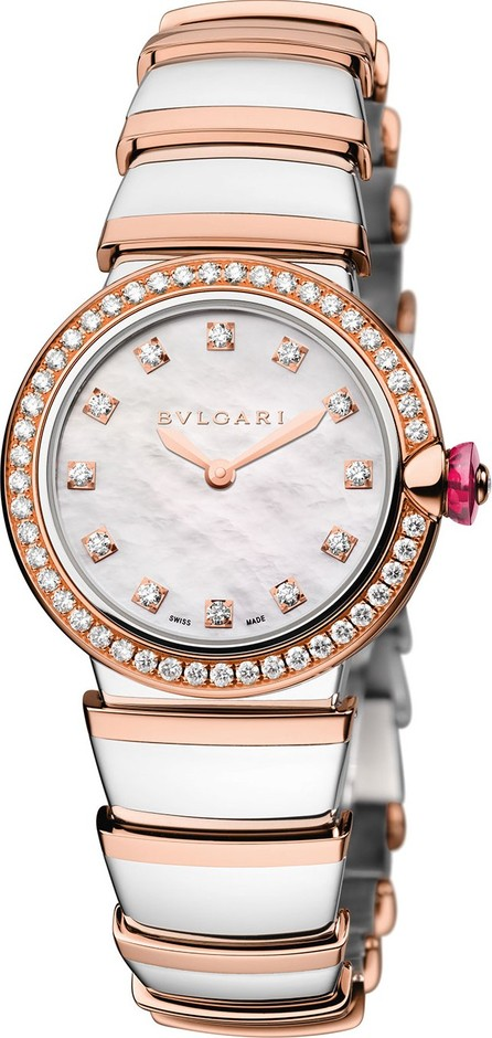 BVLGARI LVCEA 28mm Two-Tone Diamond Watch