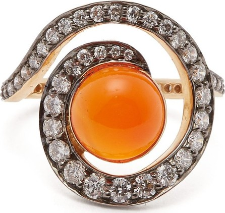 Noor Fares Planet carnelian & diamond spiral ring
