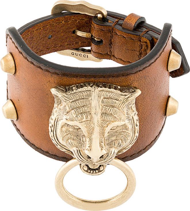 Gucci - Leather bracelet with feline head