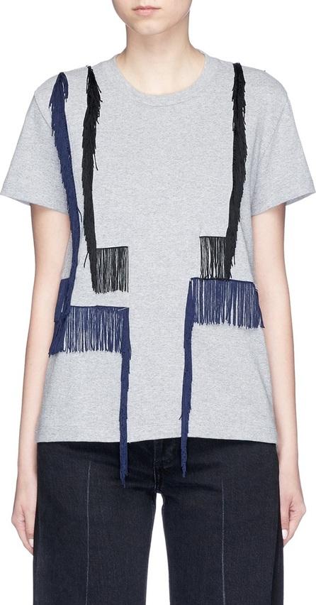FACETASM Asymmetric fringe cotton T-shirt