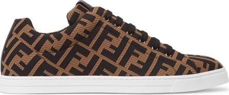 Fendi Leather-Trimmed Logo-Jacquard Sneakers