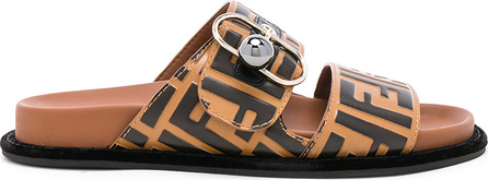 Fendi Logo Print Leather Buckle Slides