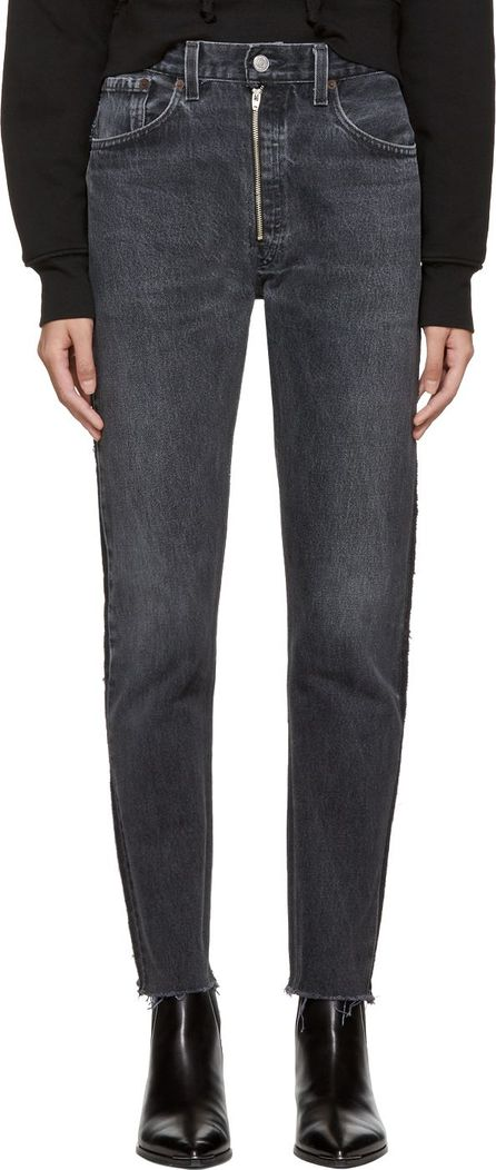 RE/DONE Black Levi's Edition High-Rise Ankle Zip Front Jeans