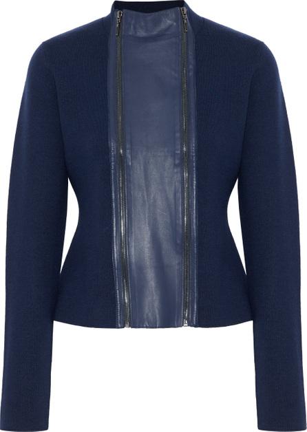 Elie Tahari Amanka leather-paneled ribbed wool sweater