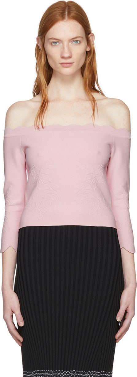 Alexander McQueen Pink Cropped Scallop Off-the-Shoulder Pullover