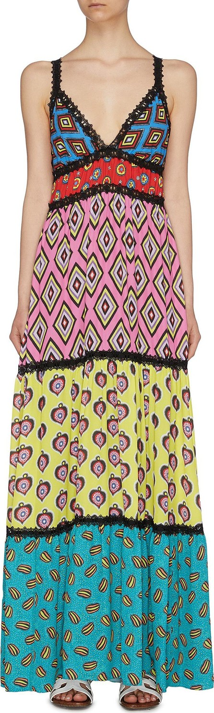 Alice + Olivia x Carla Kranendonk graphic print patchwork camisole maxi dress