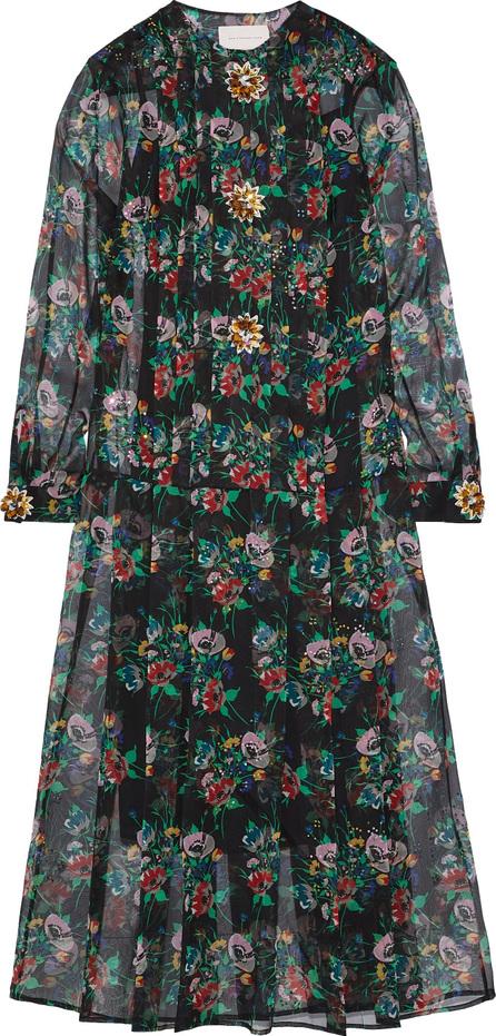 Christopher Kane Crystal-embellished floral-print silk-gauze midi dress