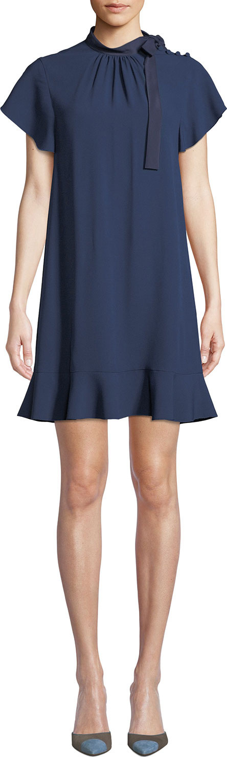 RED Valentino High-Neck Short-Sleeve Crepe de Chine Dress