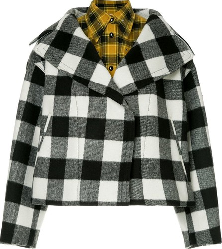 Nº21 Oversized lapel layered check jacket