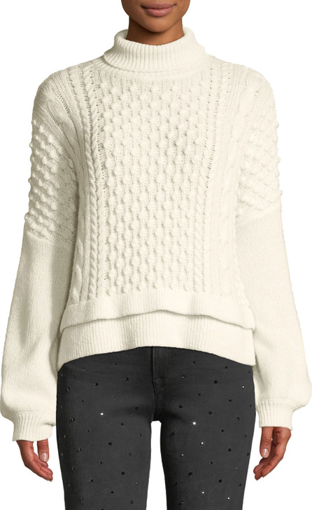 FRAME DENIM Nubby Turtleneck Wool-Blend Knit Sweater