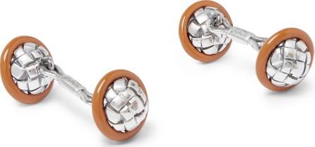 Bottega Veneta Intrecciato Sterling Silver and Enamel Cufflinks