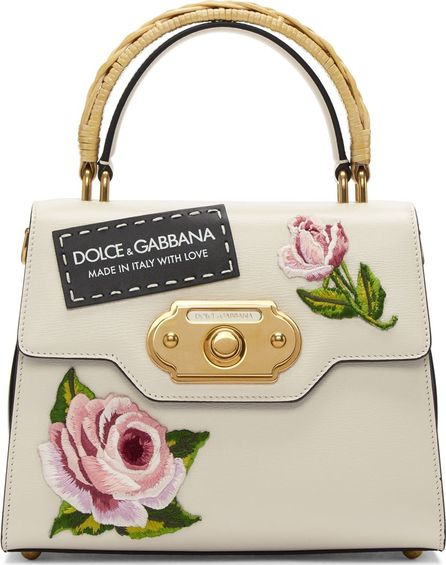 Dolce & Gabbana Pink & Black Small Embroidered Welcome Bag