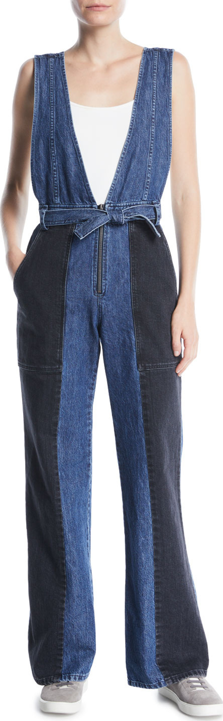 SEA Sleeveless Two-Tone Flared-Leg Denim Jumpsuit