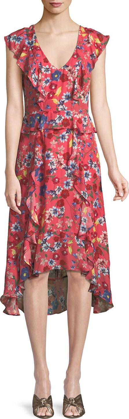 Parker Annabel Floral Ruffle Silk Midi Dress