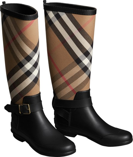 66b3c03419bb Burberry London England Two-tone Leather High Block-heel Boots - Mkt