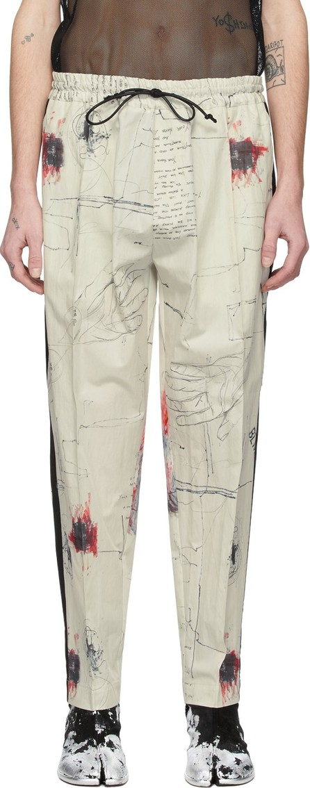 Isabel Benenato Off-White Printed Tux Trousers