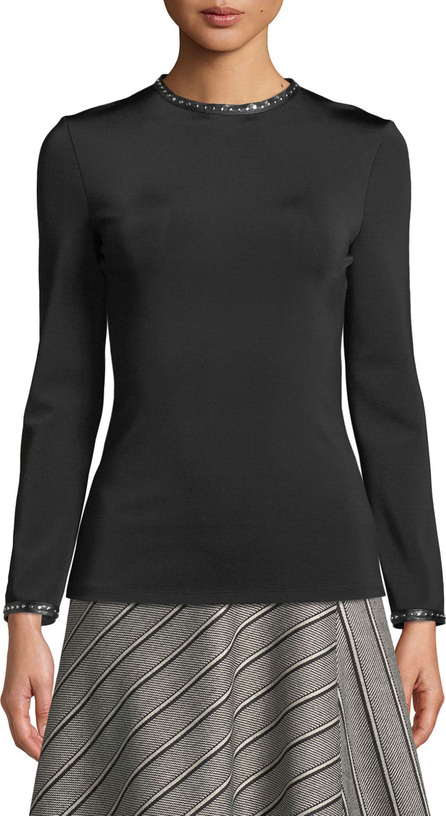 Helmut Lang Studded High-Neck Long-Sleeve Top w/ Leather Trim