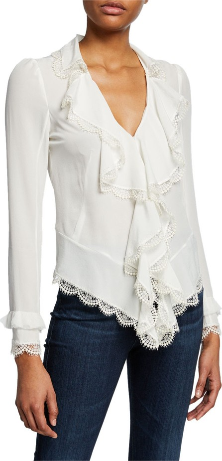 Alexis Phineas V-Neck Long-Sleeve Silk Ruffle Blouse with Lace
