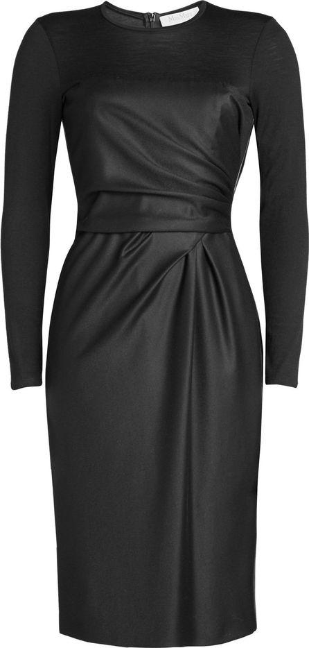 Max Mara Virgin Wool Dress with Leather