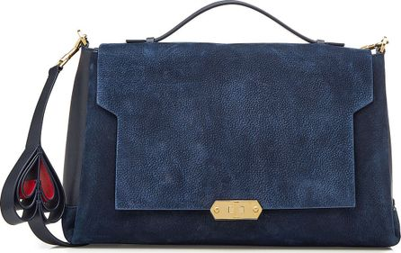 Anya Hindmarch Bathurst Heart Suede Shoulder Bag with Leather