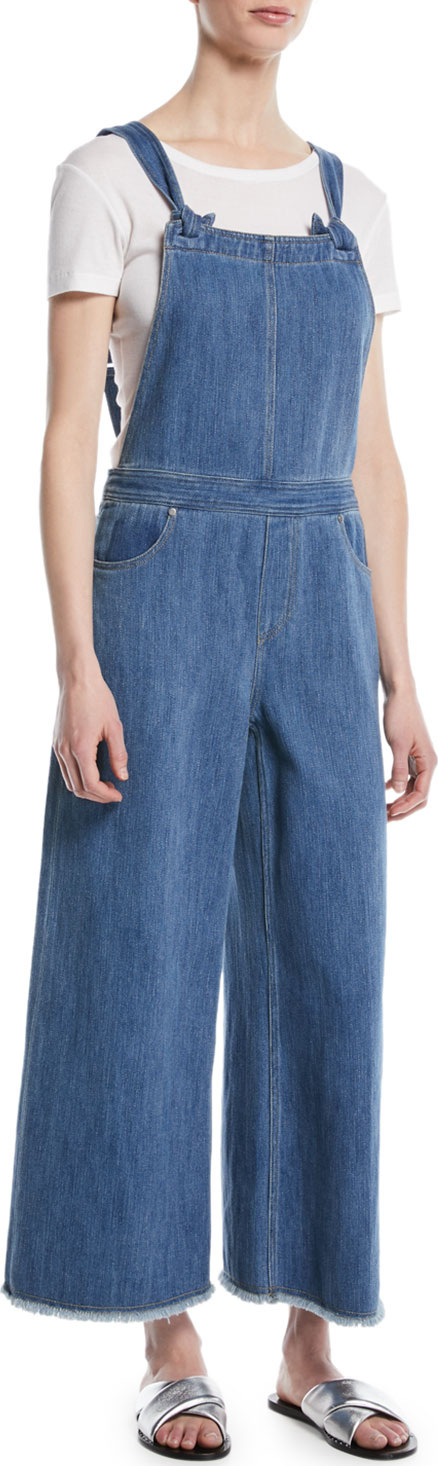 Elizabeth And James Jennette Square-Neck Knot-Strap Wide-Leg Denim Jumpsuit
