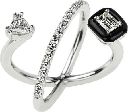 Nikos Koulis 18k White Gold Oui Trillion-Cut Diamond Ring, Size 6.75