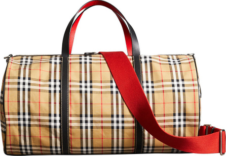 Burberry London England Large Vintage Check and Leather Barrel Bag