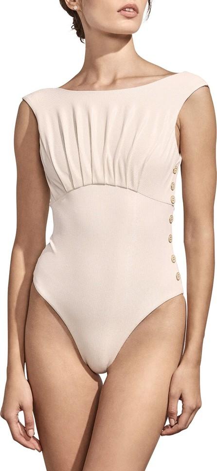 Amaiò Swim Ophelia High-Cut Button Maillot One-Piece Swimsuit