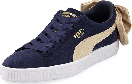 PUMA Varsity Suede Low-Top Sneakers with Bow Back, Navy/Gold