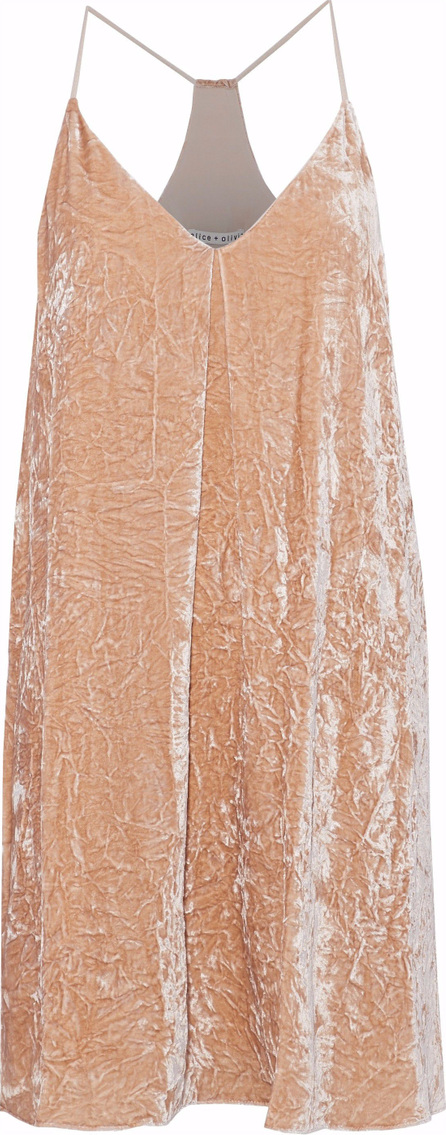 Alice + Olivia Pleated crushed-velvet mini dress