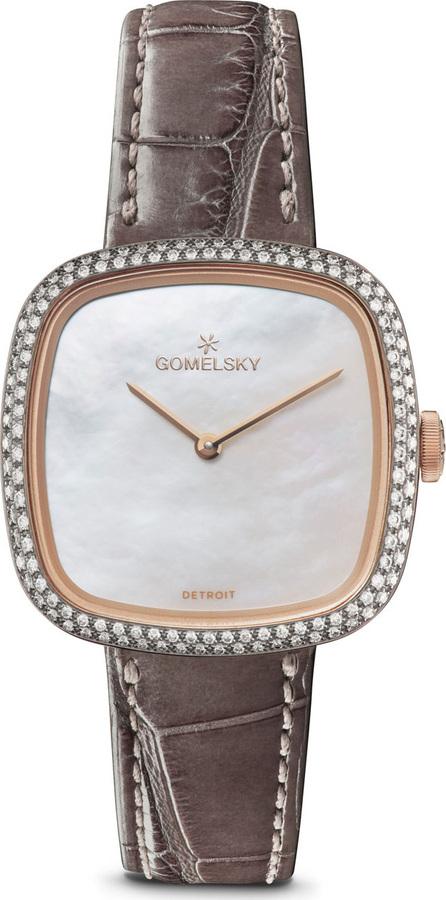 Gomelsky 32mm Eppie Diamond Watch w/ Gray Alligator Strap