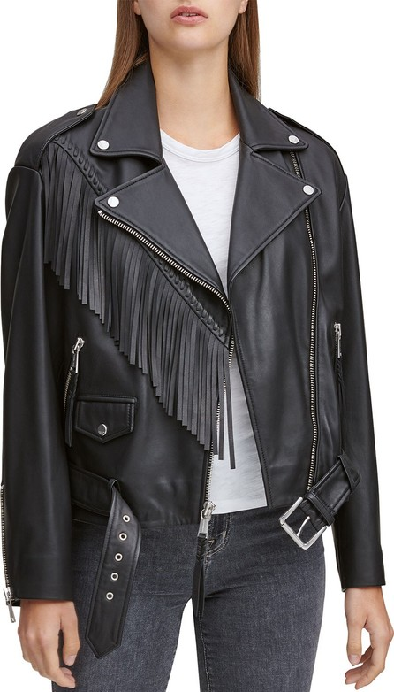 Andrew Marc Zariah Soft Leather Fringe Moto Jacket