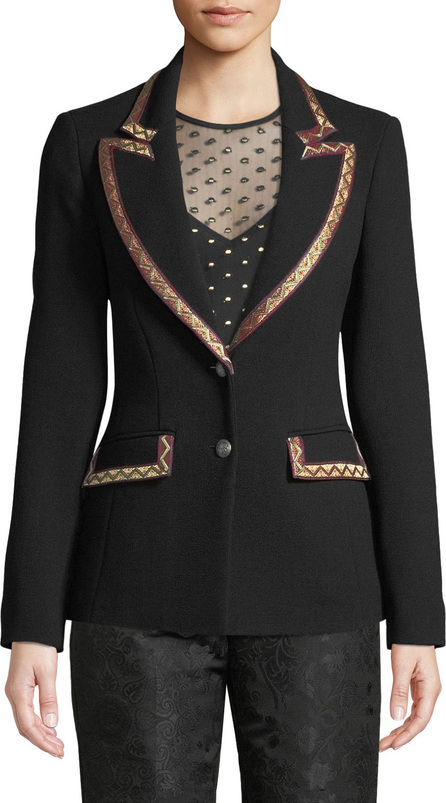 Etro Single-Breasted Wool-Crepe Blazer w/ Embroidered Ribbon Trim