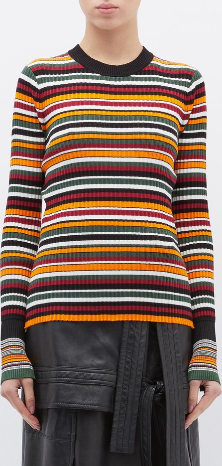 3.1 Phillip Lim Variegated stripe rib knit sweater