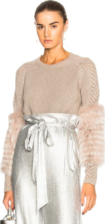 Cashmere Sweater with Lavender Fox Fur