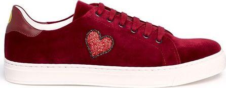Anya Hindmarch 'Heart' glitter embossed velvet sneakers