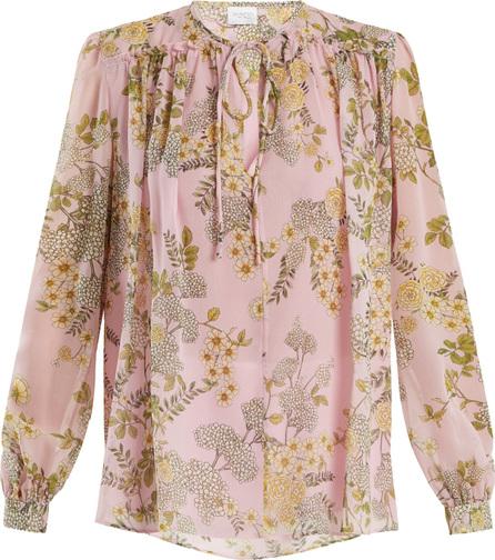 Giambattista Valli Cascade Ivy-print silk-georgette blouse