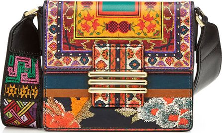 Etro Printed Leather Shoulder Bag with Embroidered Strap