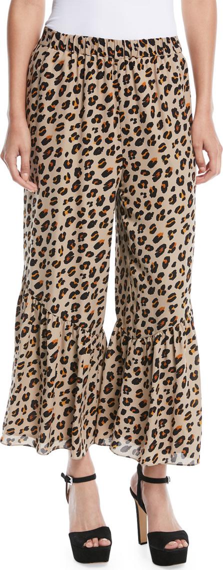 KOBI HALPERIN Leah Bell-Hem Animal-Print Silk Pants