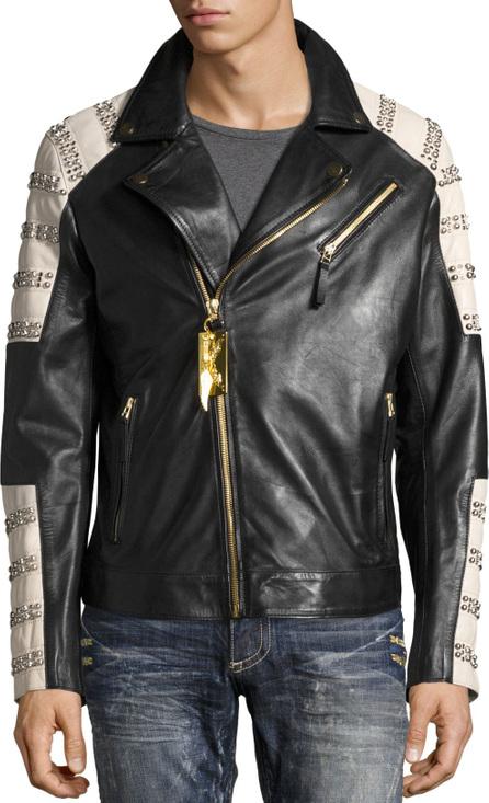 Robin's Jeans Embellished Leather Motorcycle Jacket