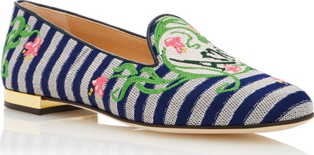 Charlotte Olympia Amour Embroidered Canvas Slippers
