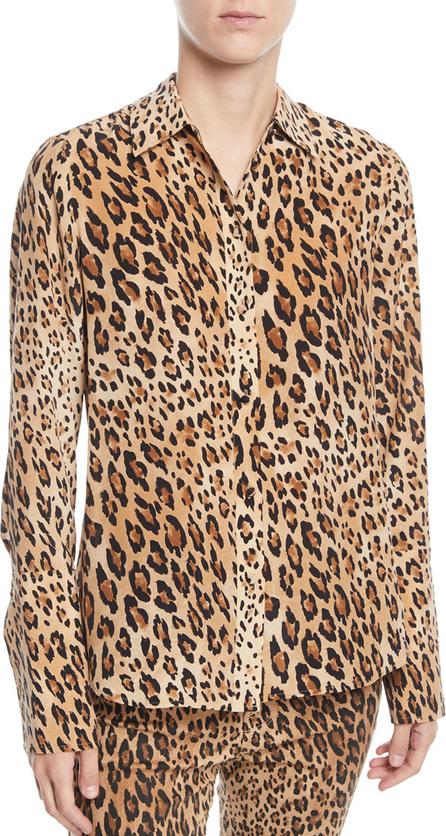 FRAME DENIM Cheetah-Print Button-Front Silk Top w/ Long Cuffs