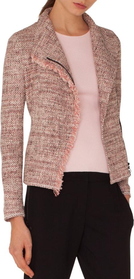 Akris Punto Zip-Front Tweed Jacket w/ Frayed Edge